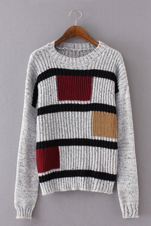 Dark Special Stripe Three Squares Pattern Knit Sweater