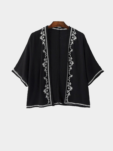 Embroidered Kimono in Black