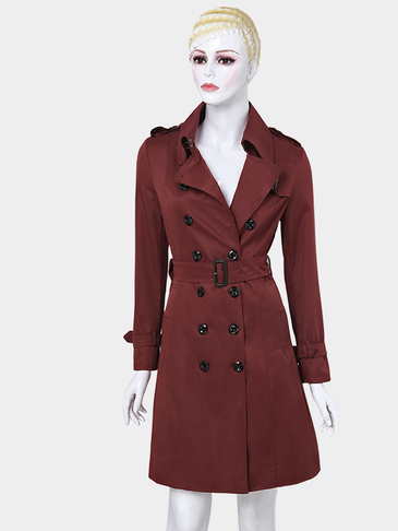 Rust Red Casual Lapel Collar Double Breated Slim Trench Coat