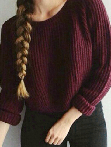 Casual Pure Color Pullover Split Detail Jumper