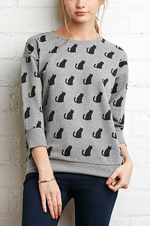Cat Print  Sweatshirt in Gray