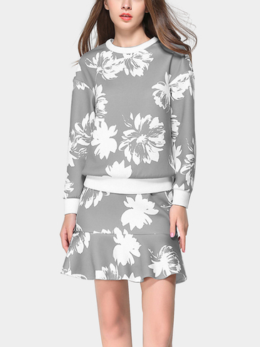 Long Sleeve Top & Flounced Hem Skirt Co-ord with Floral Print