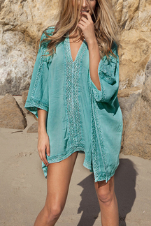 V-neck Bat Sleeve Crochet Lace Cover-up