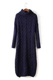 Navy Chunky Cable Jumper Dress with Funnel Neck