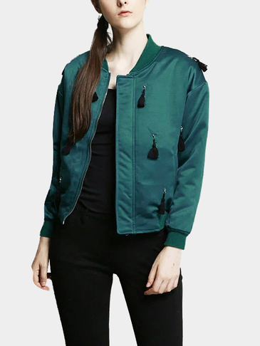 Fashion Green Long Sleeves Zipper Jacket with Tassel Details