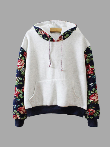 Grey Retro Flower Sleeves Hooded Hoodies