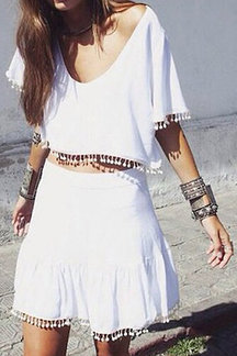 White Short Sleeve Crop Top and Skirt Co-ord with Pom Pom Detail