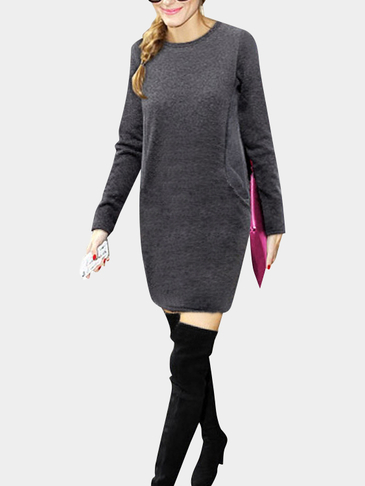 Dark Grey Casual Round Neck Long Sleeves T-shirt Dress