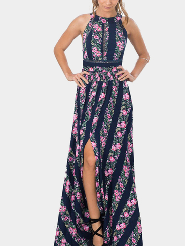 Floral Print Stripe Pattern Sleeveless Backless Self-tie Side Split Maxi Dress