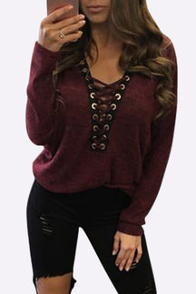 Sexy Deep V-neck Lace-up Front Casual T-shirts in Burgundy