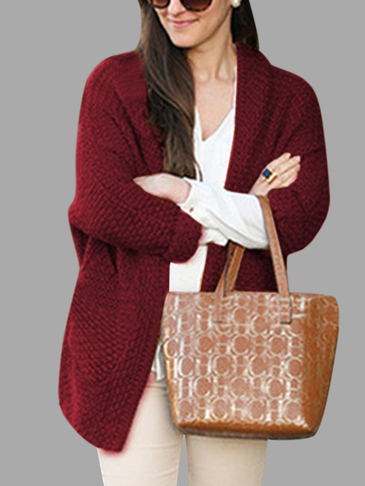 Burgundy Fashion Two Pockets Loose Cardigan