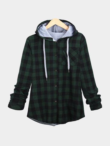 Green Paid Pattern Single Buttons Hooded Coat