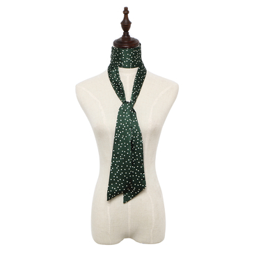 Polka Dot Silky-look Skinny Long Scarf in Dark Green