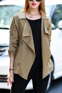 Khaki Lapel Collar Trench Coat With Double-breasted