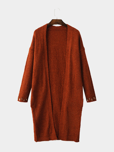 Rust Longline Cardigan with Rhinestone Embellishment
