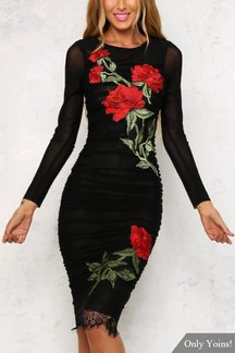 Black See Through Lace Details Embroidery Pattern Long Sleeves Midi Dress