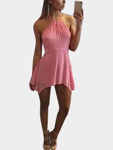 Pink Halter Backless Curve Hem Mini Dress
