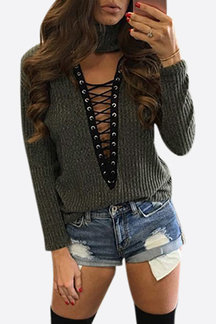 Army Green High Neck Hollow Crossed Front Knitted Top