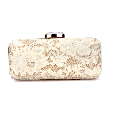Lace Clutch Bag in Apricot
