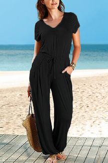 Black V-neck Casual Loose Jumpsuit