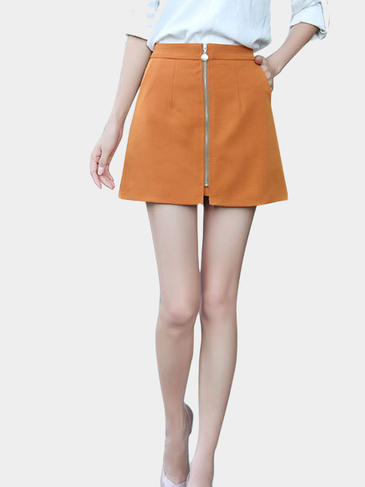 A-line Mini Skirt With Zip Front in Orange