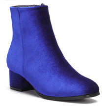 Blue Velvet Chunky Heels Short Boots with Zipper Design