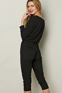 Black Drawstring Waist Casual Jumpsuit with Two Pockets