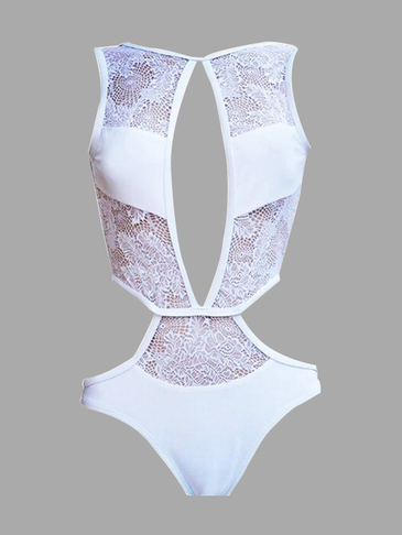 Lace Insert Cut Out Swimsuit in White