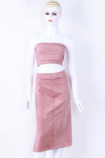 Pink Suede Tube Top & Midi Splited Hem Skirt Co-ord