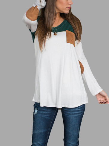 V-neck Causal T-shirt with Patchwork Design