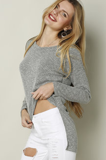 Dark Gray V-neck Knitted Jumper With Splited Hem
