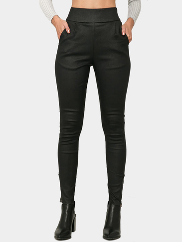 Black Artificial Leather High Waist Side Pockets Trousers