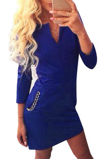 Blue V-neck Long Sleeves Bodycon Dress with Pockets