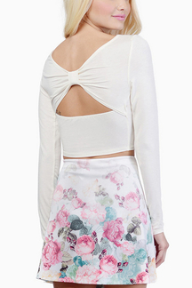White Long Sleeve Crop Top with Cut Out Back
