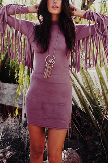 Pink Fashion Fringed Body-con Dress