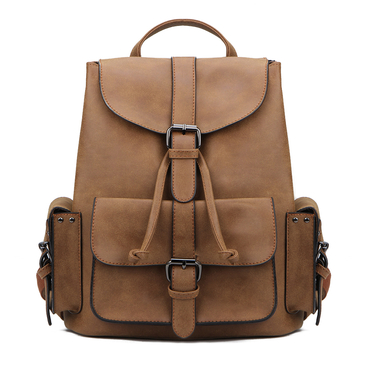 Brown Backpack with Drawstring Design and Magnetic Closure