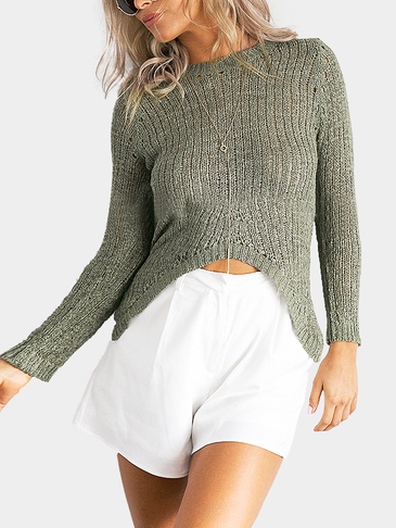 Sexy Long Sleeves High Low Hem Jumper