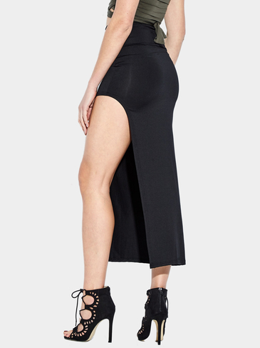 Black Sexy Medium Waist High Splited Irregular Hem Maxi Bodycon Skirt
