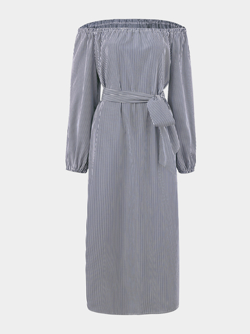 Blue Stripe Off Shoulder Splited Hem Casual Dress
