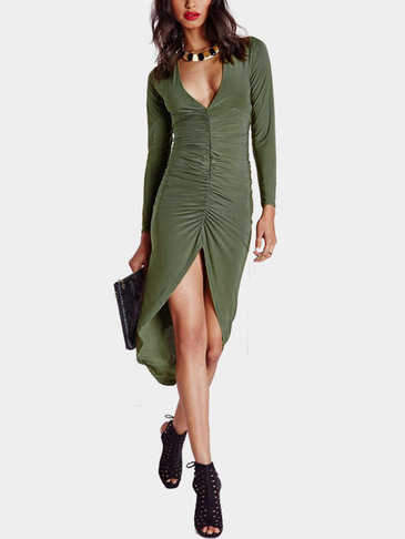 Green Sexy Long Sleeves V-neck Split Dress