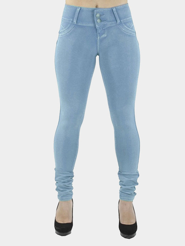 Light Blue Bodycon Botton Closure Fashion Leggings