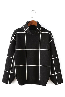 Plaid Pattern High Neck Sweater in Black