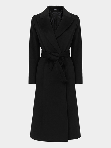 Black Longline Duster Coat with Belt