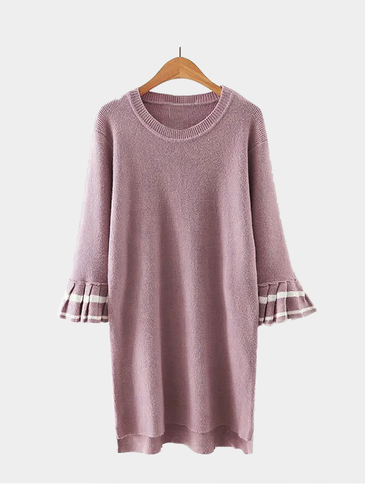 Fashion Round Neck Mini Dress with 3/4 Length Flared Sleeves
