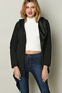 Black Hooded Trench Coat With Self-tie Belt