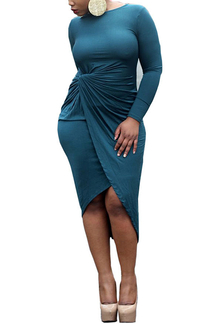 Plus Size Round Collar Wrap Dress with Twisted Front