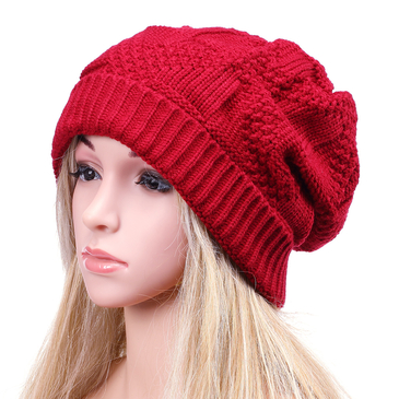 Red Crochet Knit Ribbed Hat