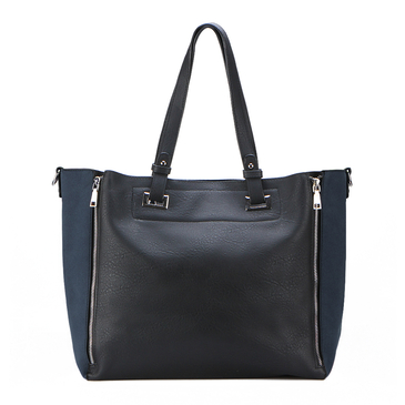 Blue Zipper Shopper Bag With Removable Clutch
