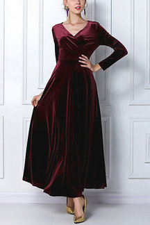 Burgundy Wrap Front Velvet Maxi Dress