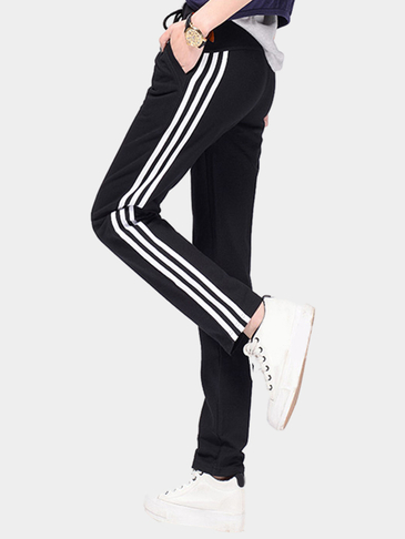 Black Drawstring Waist Side Pockets Sport Trousers